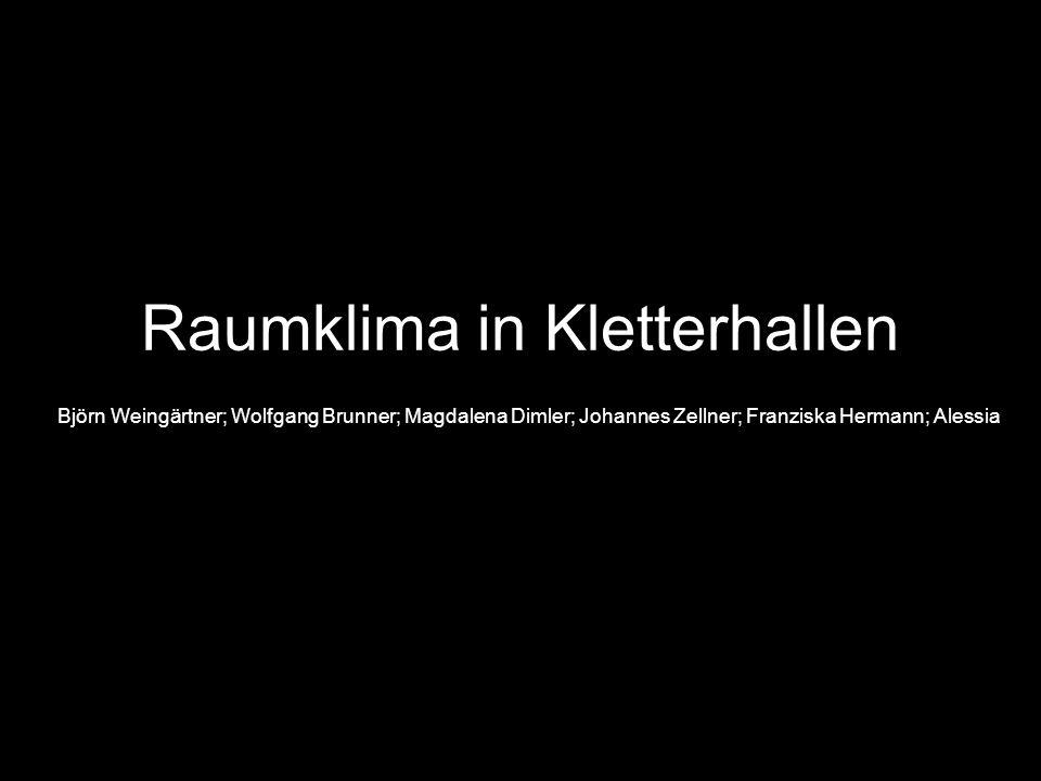 Raumklima in Kletterhallen Björn Weingärtner; Wolfgang Brunner; Magdalena Dimler; Johannes Zellner; Franziska Hermann; Alessia