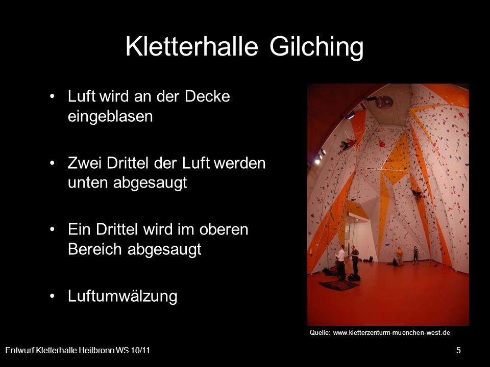 Kletterhalle Gilching Entwurf Kletterhalle Heilbronn WS 10/11 5 Luft wird an der Decke eingeblasen Zwei Drittel der Luft werden unten abgesaugt Ein Dr