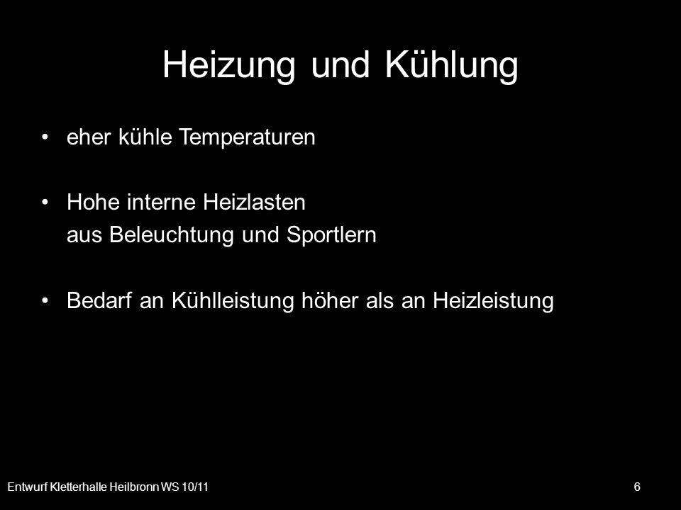 Heizung und Kühlung eher kühle Temperaturen Hohe interne Heizlasten aus Beleuchtung und Sportlern Bedarf an Kühlleistung höher als an Heizleistung Ent