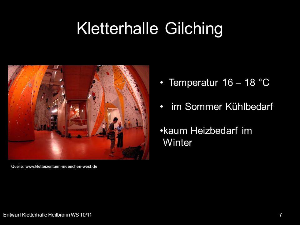 Kletterhalle Gilching Entwurf Kletterhalle Heilbronn WS 10/11 7 Temperatur 16 – 18 °C im Sommer Kühlbedarf kaum Heizbedarf im Winter Quelle: www.klett