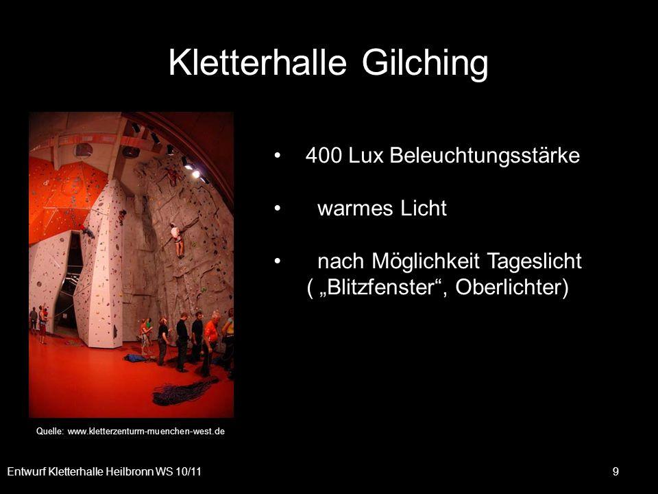 9 Kletterhalle Gilching Quelle: www.kletterzenturm-muenchen-west.de 400 Lux Beleuchtungsstärke warmes Licht nach Möglichkeit Tageslicht ( Blitzfenster