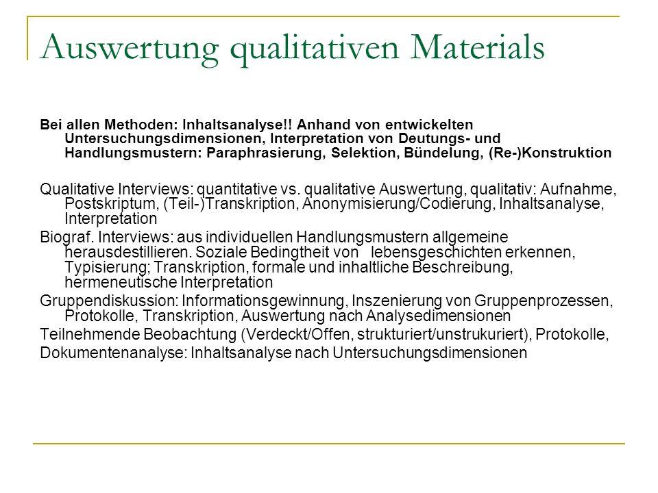 Auswertung qualitativen Materials Bei allen Methoden: Inhaltsanalyse!! Anhand von entwickelten Untersuchungsdimensionen, Interpretation von Deutungs-