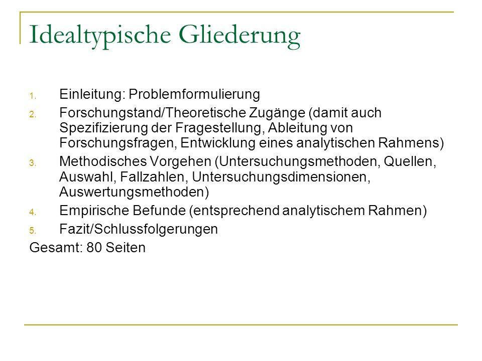 Idealtypische Gliederung 1. Einleitung: Problemformulierung 2. Forschungstand/Theoretische Zugänge (damit auch Spezifizierung der Fragestellung, Ablei