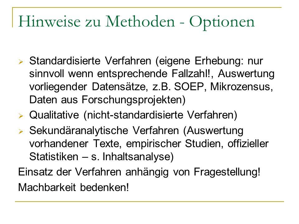 Hinweise zu Methoden - Optionen Standardisierte Verfahren (eigene Erhebung: nur sinnvoll wenn entsprechende Fallzahl!, Auswertung vorliegender Datensä
