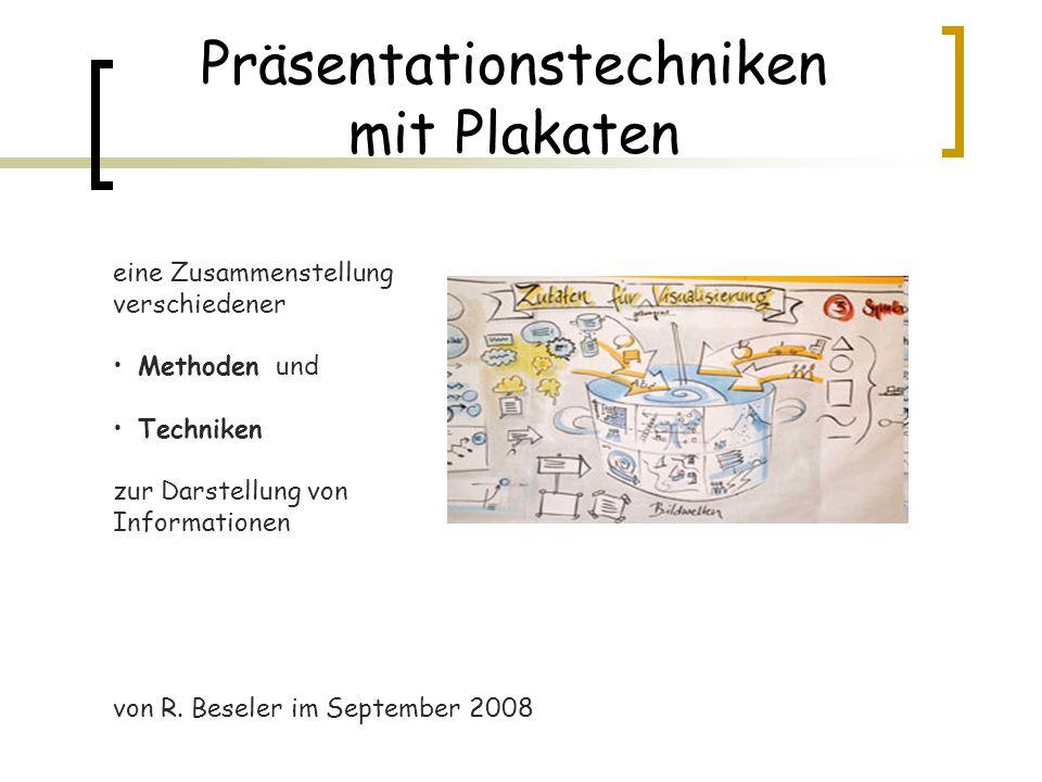 Präsentationstechniken mit Plakaten eine Zusammenstellung verschiedener Methoden und Techniken zur Darstellung von Informationen von R. Beseler im Sep
