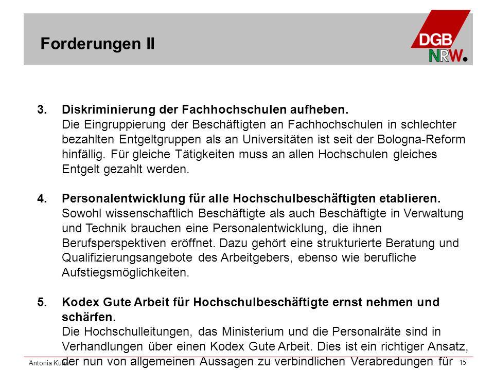 Antonia Kühn 15 3. Diskriminierung der Fachhochschulen aufheben.