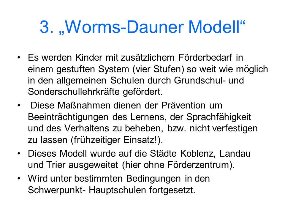 3. Worms-Dauner Modell Es werden Kinder mit zusätzlichem Förderbedarf in einem gestuften System (vier Stufen) so weit wie möglich in den allgemeinen S