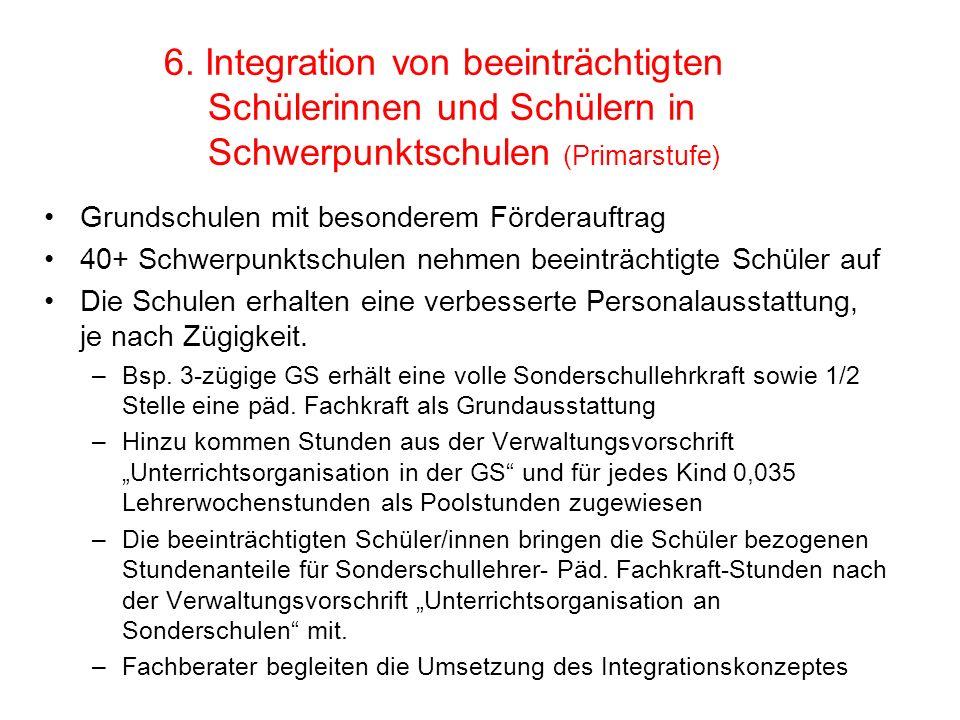 6. Integration von beeinträchtigten Schülerinnen und Schülern in Schwerpunktschulen (Primarstufe) Grundschulen mit besonderem Förderauftrag 40+ Schwer