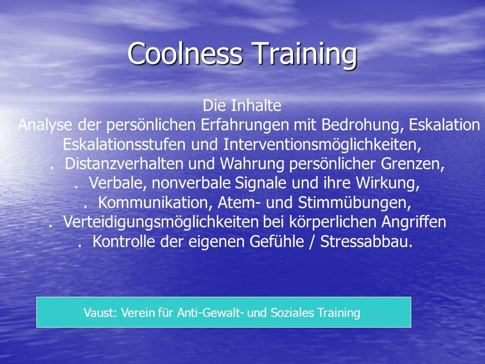 Coolness Training Die Inhalte. Analyse der persönlichen Erfahrungen mit Bedrohung, Eskalation Eskalationsstufen und Interventionsmöglichkeiten,. Dista