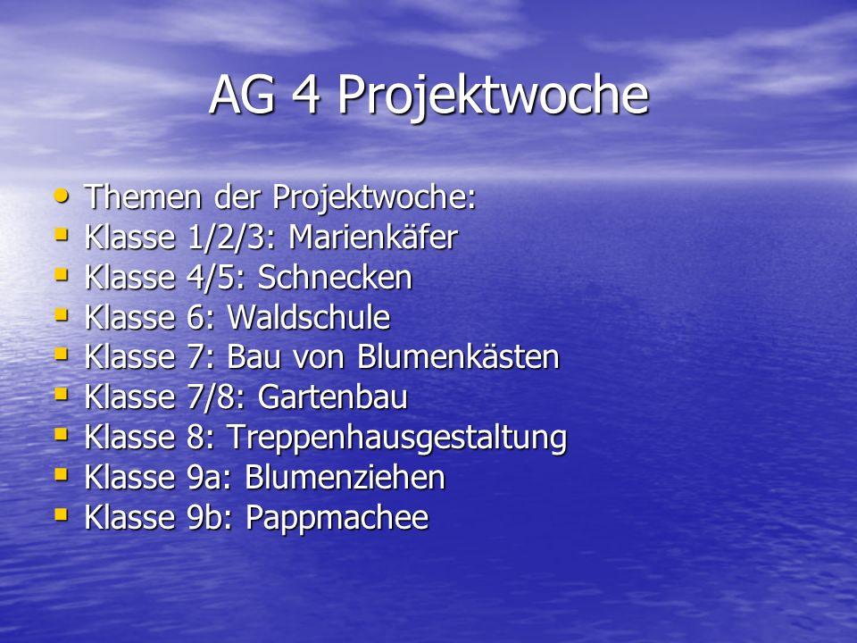 AG 4 Projektwoche Themen der Projektwoche: Themen der Projektwoche: Klasse 1/2/3: Marienkäfer Klasse 1/2/3: Marienkäfer Klasse 4/5: Schnecken Klasse 4
