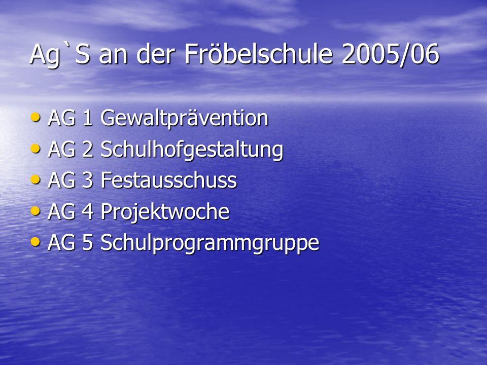 Ag`S an der Fröbelschule 2005/06 AG 1 Gewaltprävention AG 1 Gewaltprävention AG 2 Schulhofgestaltung AG 2 Schulhofgestaltung AG 3 Festausschuss AG 3 F