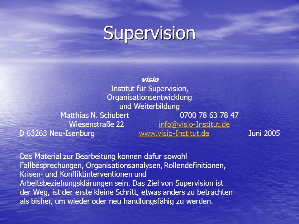 Supervision visio Institut für Supervision, Organisationsentwicklung und Weiterbildung Matthias N. Schubert0700 78 63 78 47 Wiesenstraße 22info@visio-