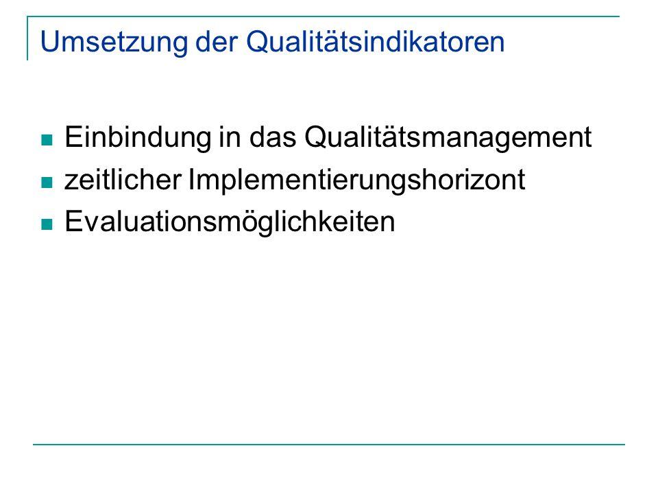 Umsetzung der Qualitätsindikatoren Einbindung in das Qualitätsmanagement zeitlicher Implementierungshorizont Evaluationsmöglichkeiten