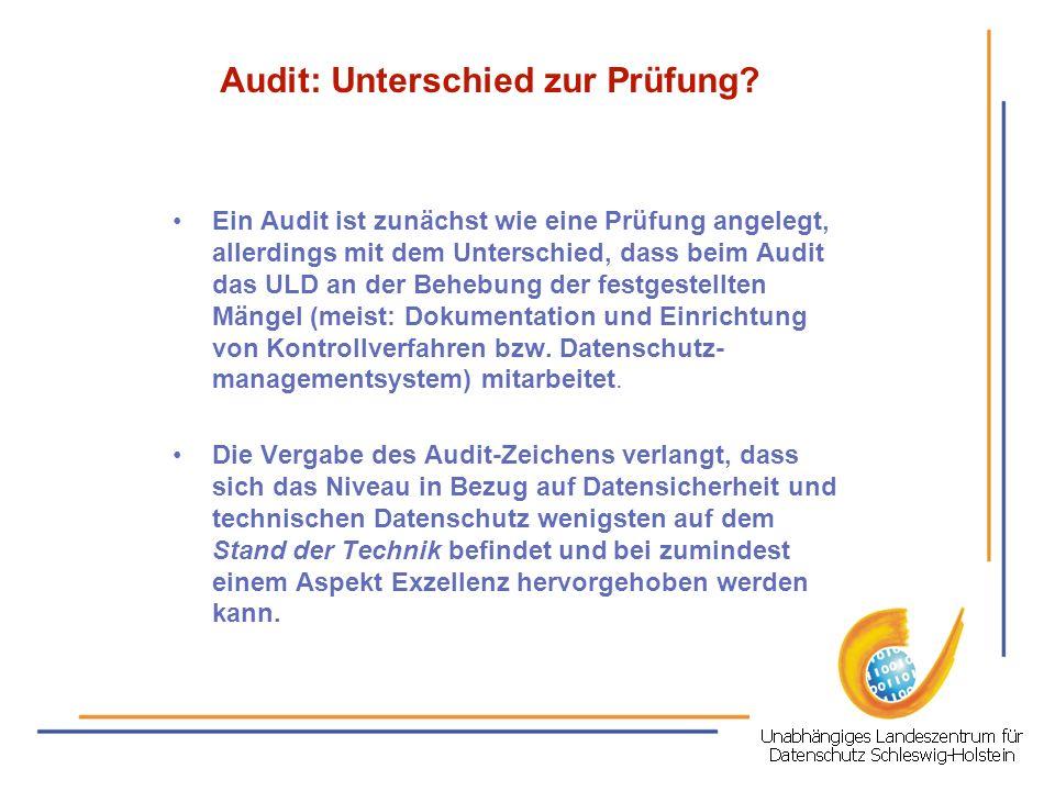 Audit: Unterschied zur Prüfung? Ein Audit ist zunächst wie eine Prüfung angelegt, allerdings mit dem Unterschied, dass beim Audit das ULD an der Beheb