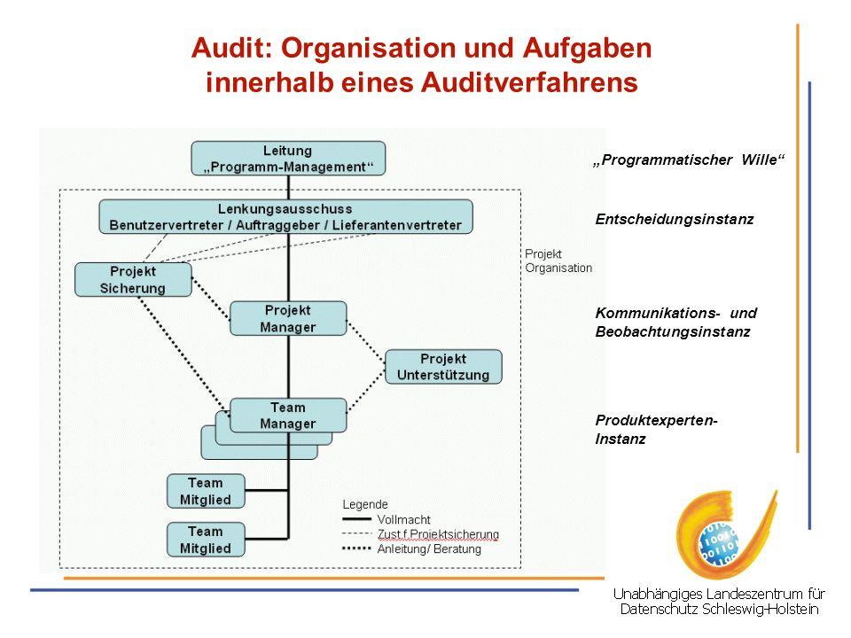Audit: Organisation und Aufgaben innerhalb eines Auditverfahrens Programmatischer Wille Entscheidungsinstanz Kommunikations- und Beobachtungsinstanz P