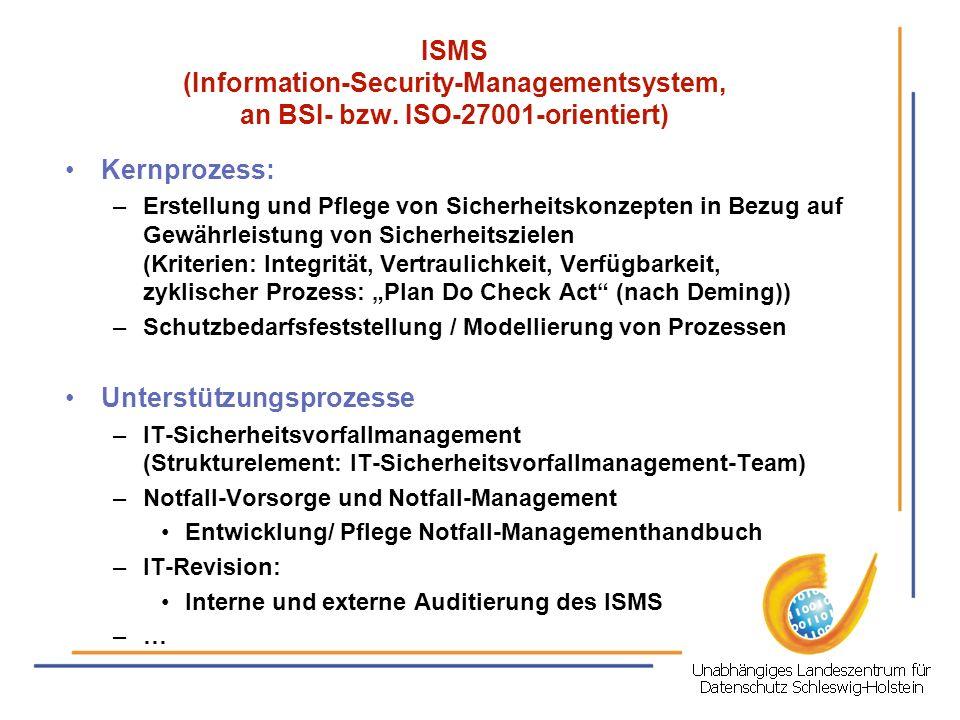 ISMS (Information-Security-Managementsystem, an BSI- bzw. ISO-27001-orientiert) Kernprozess: –Erstellung und Pflege von Sicherheitskonzepten in Bezug