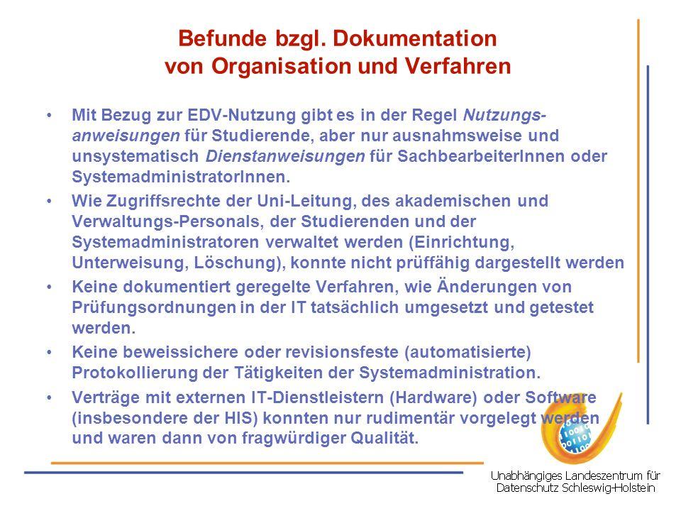 Mit Bezug zur EDV-Nutzung gibt es in der Regel Nutzungs- anweisungen für Studierende, aber nur ausnahmsweise und unsystematisch Dienstanweisungen für
