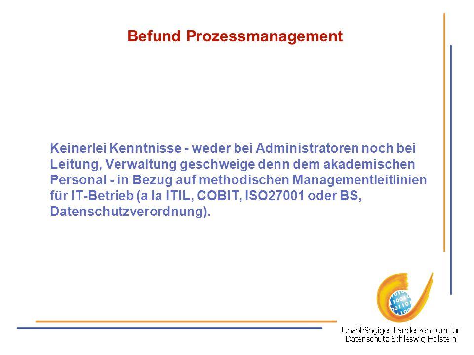 Befund Prozessmanagement Keinerlei Kenntnisse - weder bei Administratoren noch bei Leitung, Verwaltung geschweige denn dem akademischen Personal - in