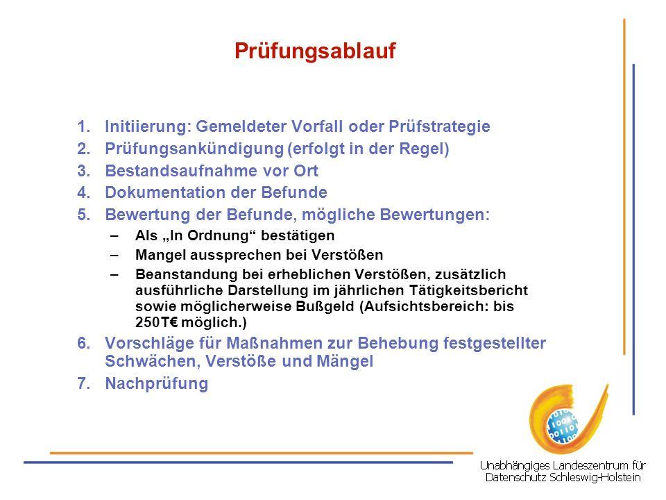 Behörden-Audit in Schleswig-Holstein durch das ULD Auslöser: Die betroffene öffentliche Verwaltung ODER ein Auftraggeber einer betroffenen öffentlichen Verwaltung äußern gegenüber dem ULD den Wunsch, die Datenschutzkonformität vom ULD nach Innen qualitätssichernd und nach Außen hin werbewirksam mit einem Siegel bestätigen zu lassen.