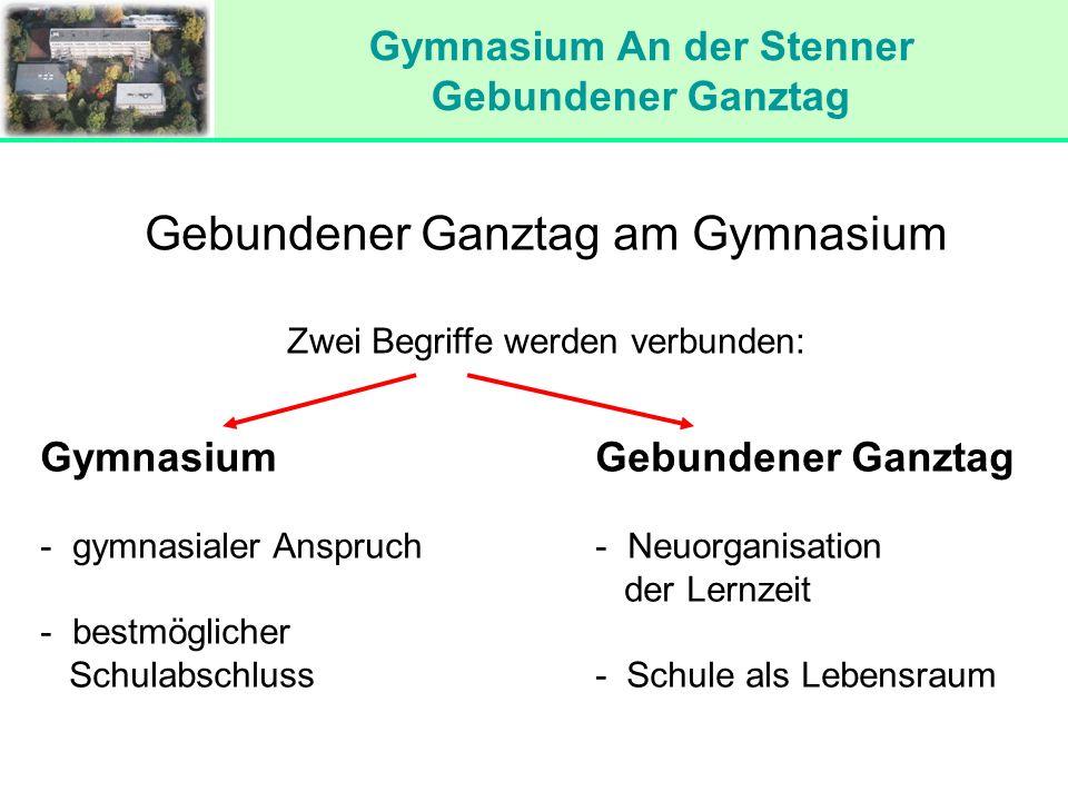 Gymnasium An der Stenner Gebundener Ganztag Gebundener Ganztag am Gymnasium Zwei Begriffe werden verbunden: Gymnasium - gymnasialer Anspruch - bestmög