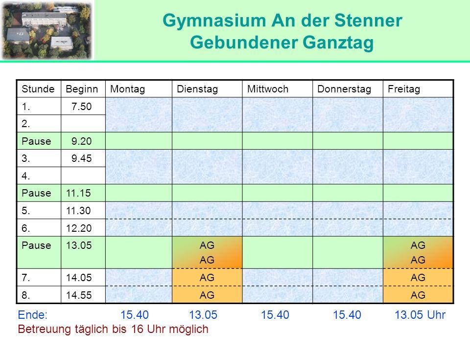 Gymnasium An der Stenner Gebundener Ganztag Gymnasium An der Stenner Gebundener Ganztag StundeBeginnMontagDienstagMittwochDonnerstagFreitag 1. 7.50 2.