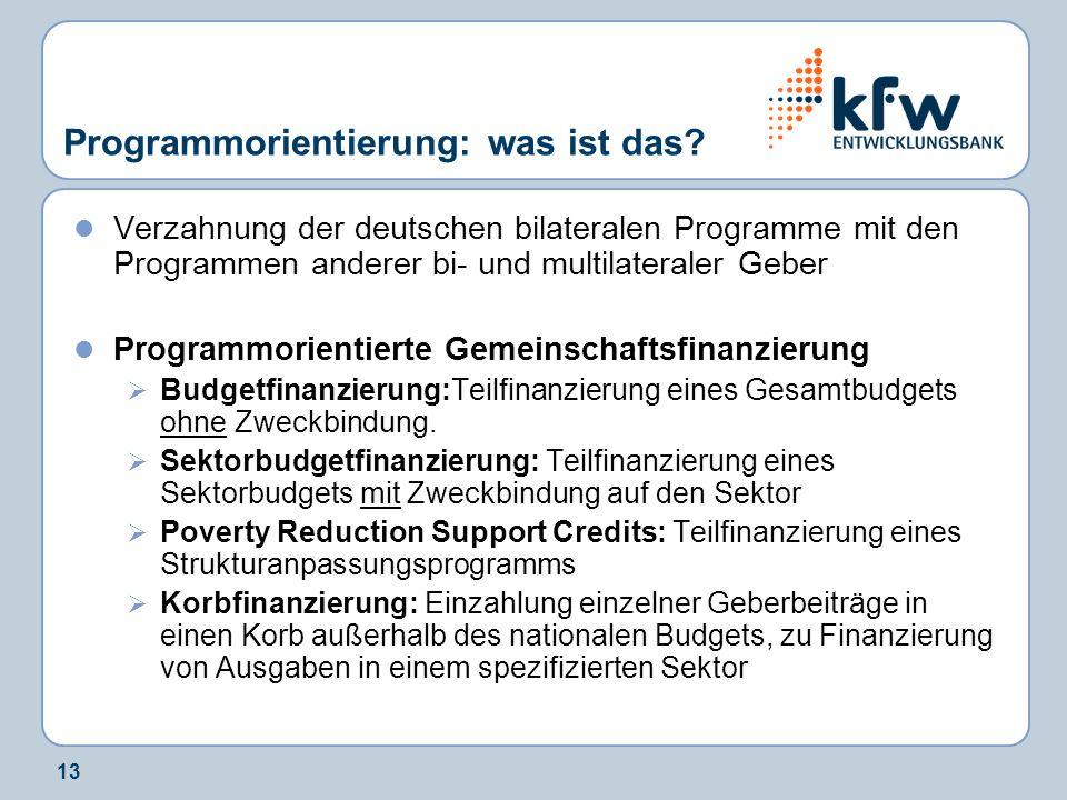 13 Programmorientierung: was ist das? Verzahnung der deutschen bilateralen Programme mit den Programmen anderer bi- und multilateraler Geber Programmo