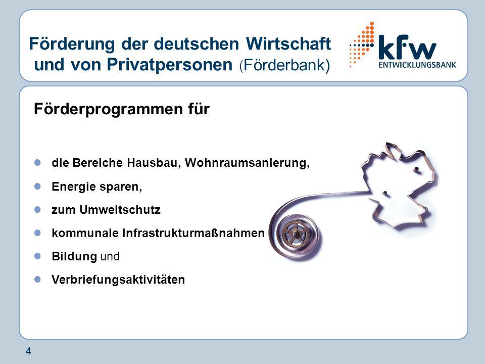 5 Förderung der deutschen Wirtschaft ( Mittelstandsbank) Förderprogramme für Unternehmer und Freiberufler: zum Umweltschutz für Energieeinsparung bezüglich Mittelstand und Umwelt für neue Technologie und Innovationen für die Förderung von Beteiligungen
