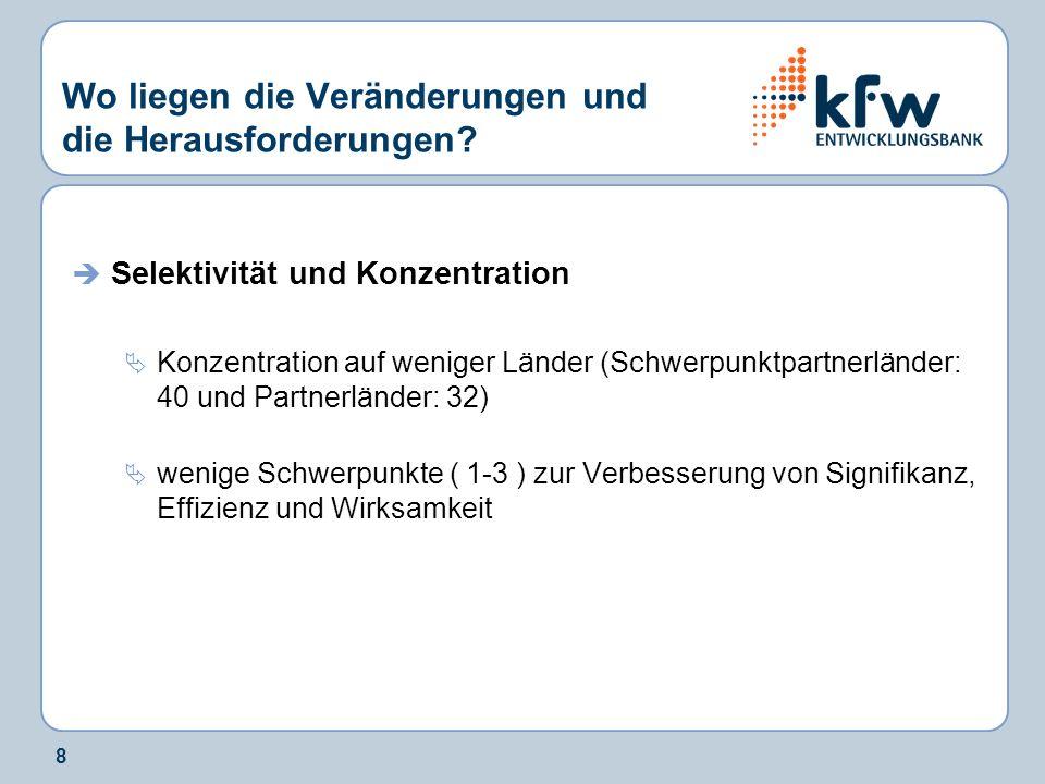 9 Schwerpunkt-/Partnerländer in der deutschen Entwicklungszusammen- arbeit