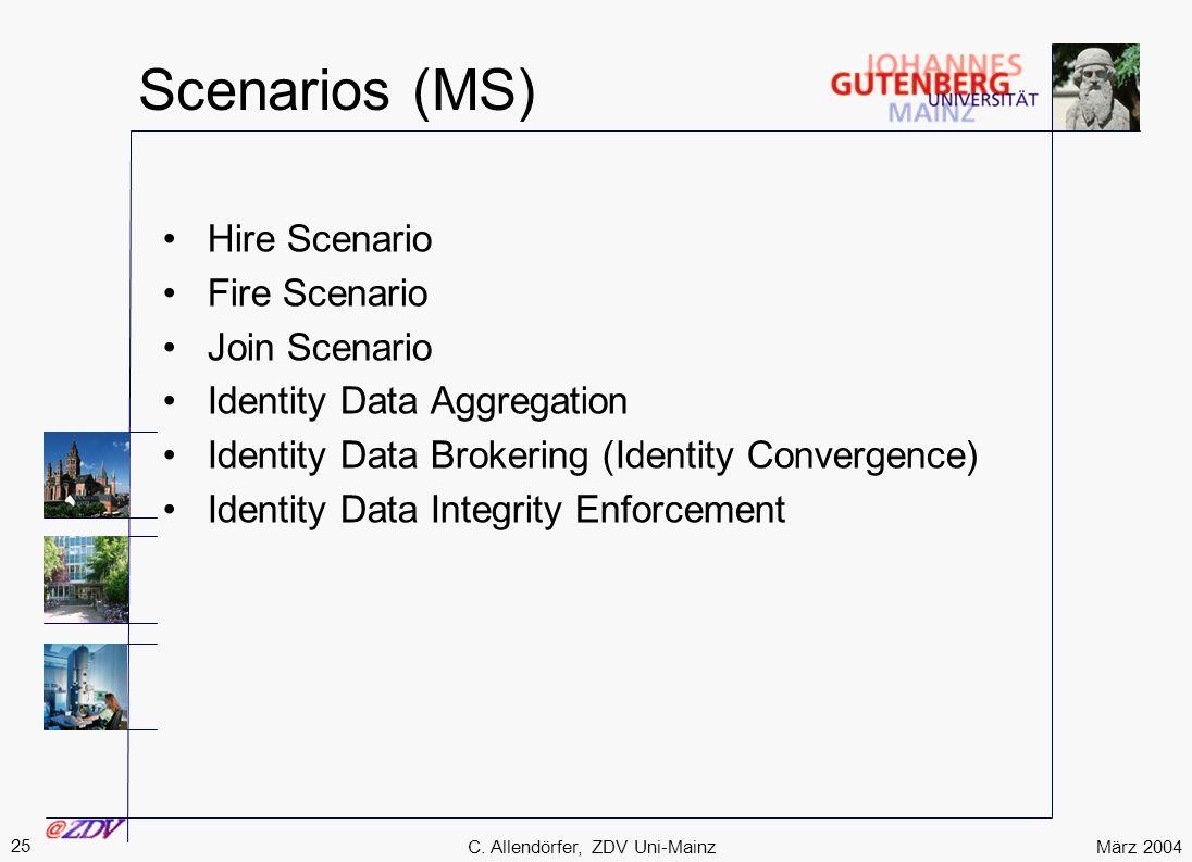 März 2004 25 C. Allendörfer, ZDV Uni-Mainz Scenarios (MS) Hire Scenario Fire Scenario Join Scenario Identity Data Aggregation Identity Data Brokering