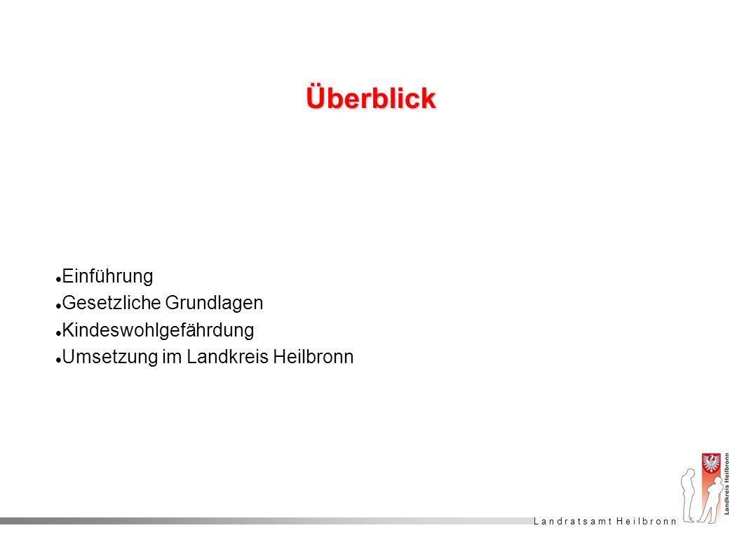L a n d r a t s a m t H e i l b r o n n Überblick Einführung Gesetzliche Grundlagen Kindeswohlgefährdung Umsetzung im Landkreis Heilbronn