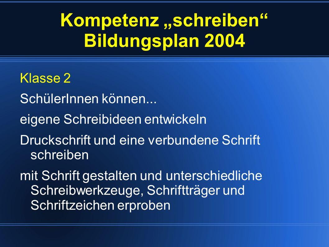 Kompetenz schreiben Bildungsplan 2004 Klasse 4 SchülerInnen können...