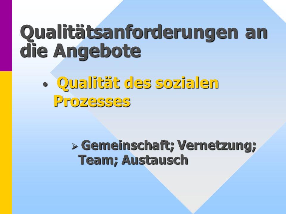 Qualitätsanforderungen an die Angebote Qualität des sozialen Prozesses Qualität des sozialen Prozesses Gemeinschaft; Vernetzung; Team; Austausch Gemei