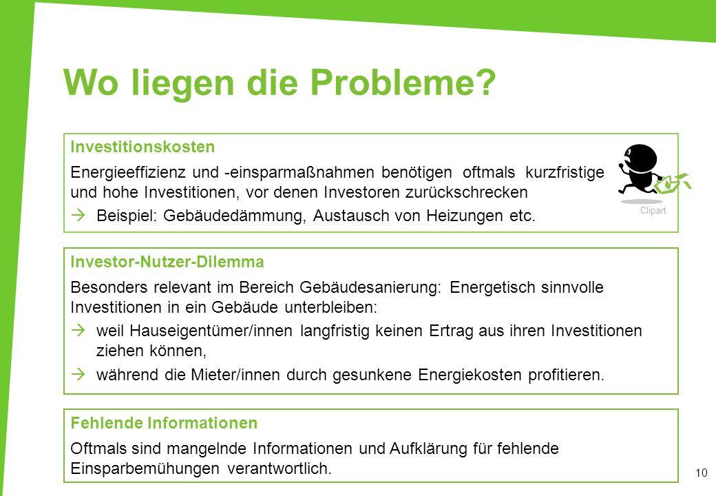 Wo liegen die Probleme? Investitionskosten Energieeffizienz und -einsparmaßnahmen benötigen oftmals kurzfristige und hohe Investitionen, vor denen Inv