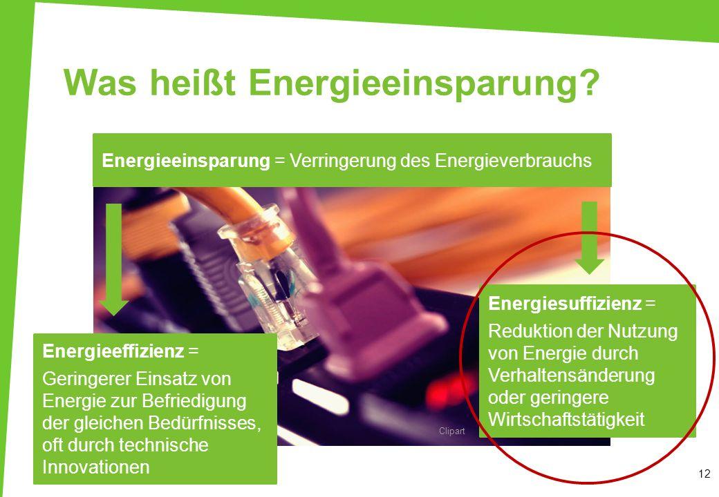 Energiesuffizienz = Reduktion der Nutzung von Energie durch Verhaltensänderung oder geringere Wirtschaftstätigkeit Was heißt Energieeinsparung? 12 Ene