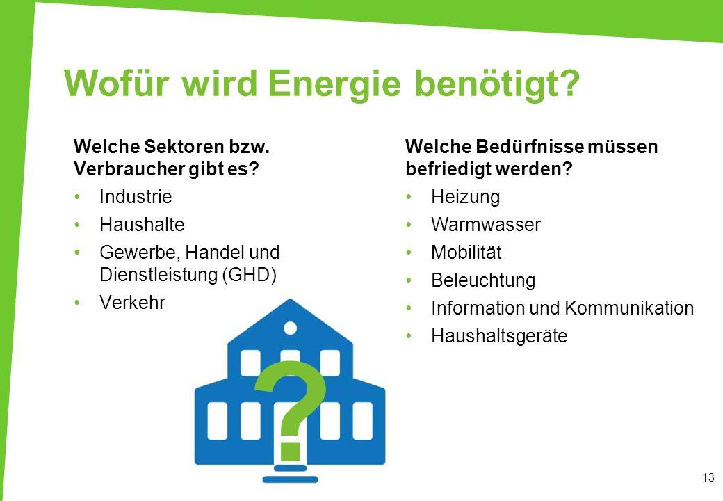 ? Wofür wird Energie benötigt? Welche Sektoren bzw. Verbraucher gibt es? Industrie Haushalte Gewerbe, Handel und Dienstleistung (GHD) Verkehr 13 Welch