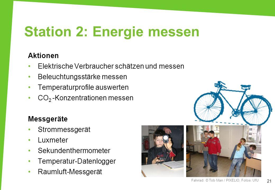 Station 2: Energie messen Aktionen Elektrische Verbraucher schätzen und messen Beleuchtungsstärke messen Temperaturprofile auswerten CO 2 -Konzentrati