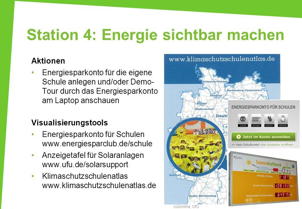 Station 4: Energie sichtbar machen Aktionen Energiesparkonto für die eigene Schule anlegen und/oder Demo- Tour durch das Energiesparkonto am Laptop an