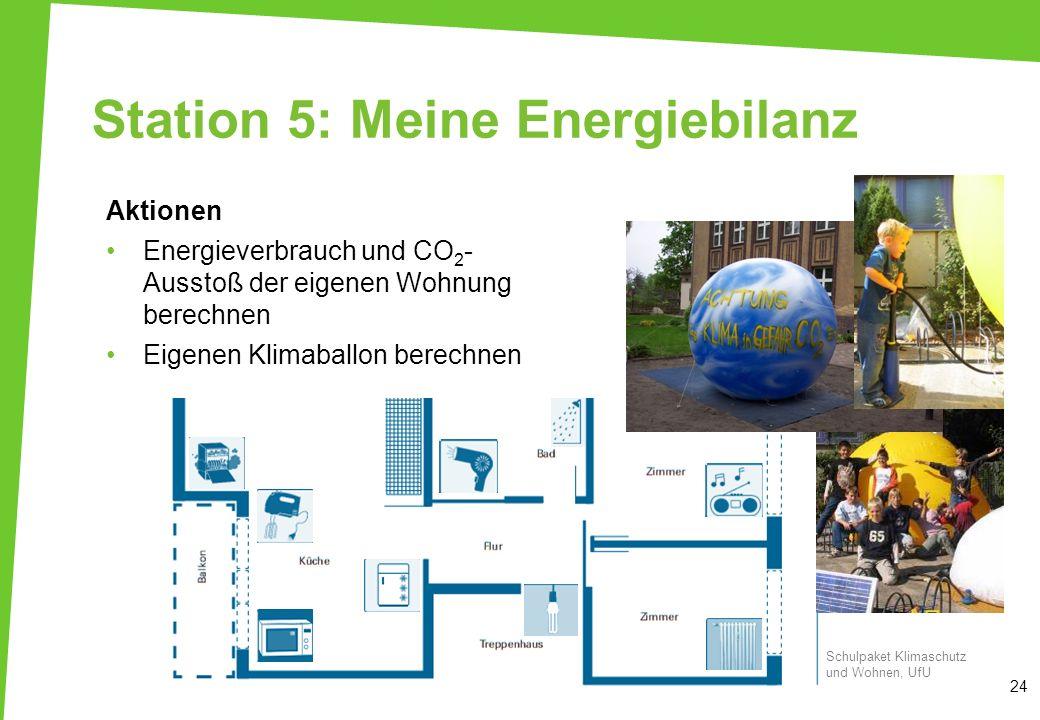 Station 5: Meine Energiebilanz Aktionen Energieverbrauch und CO 2 - Ausstoß der eigenen Wohnung berechnen Eigenen Klimaballon berechnen 24 Schulpaket