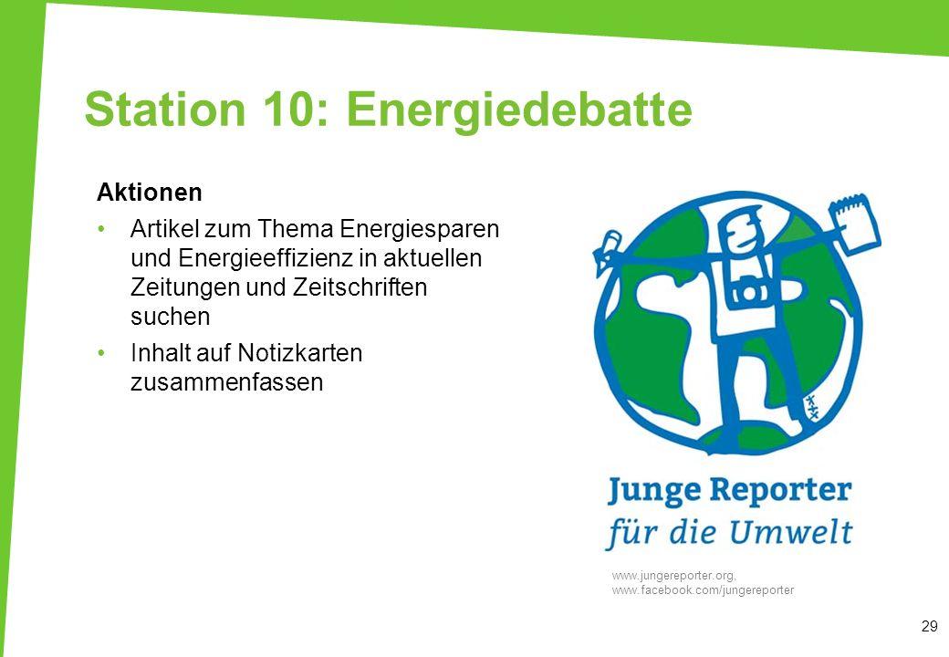 Station 10: Energiedebatte Aktionen Artikel zum Thema Energiesparen und Energieeffizienz in aktuellen Zeitungen und Zeitschriften suchen Inhalt auf No