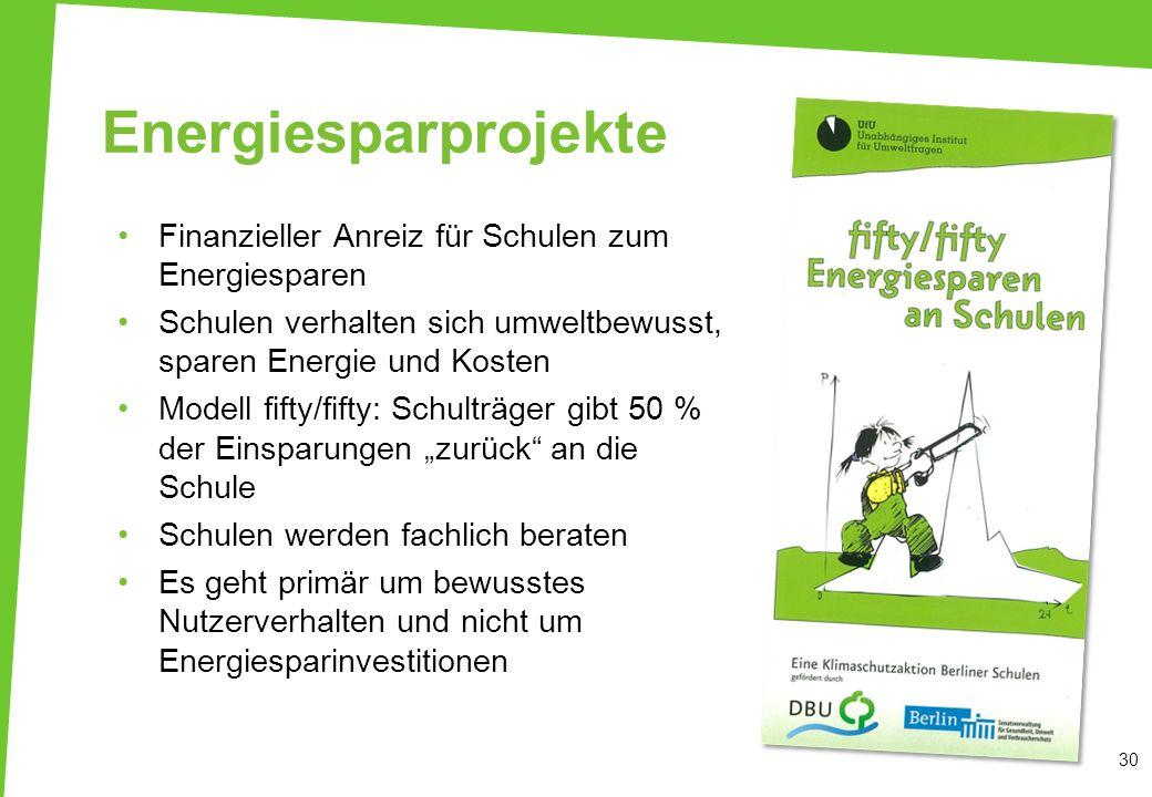 Energiesparprojekte Finanzieller Anreiz für Schulen zum Energiesparen Schulen verhalten sich umweltbewusst, sparen Energie und Kosten Modell fifty/fif
