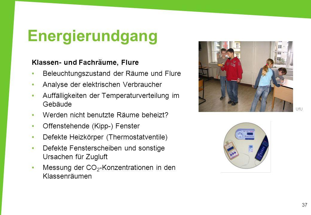 Energierundgang Klassen- und Fachräume, Flure Beleuchtungszustand der Räume und Flure Analyse der elektrischen Verbraucher Auffälligkeiten der Tempera