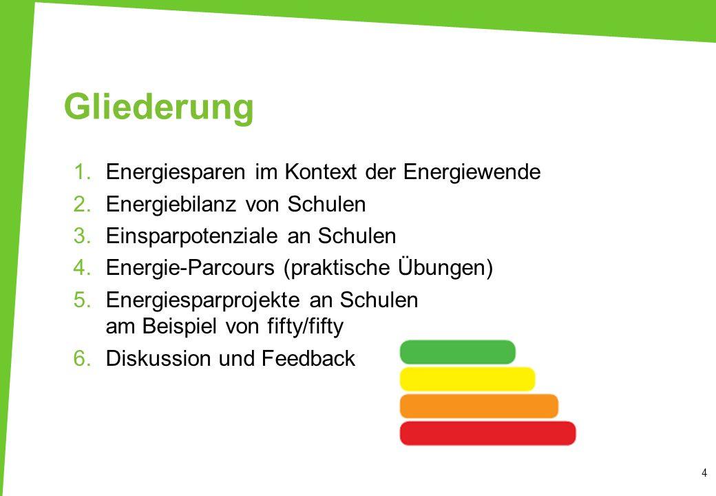 Gliederung 1.Energiesparen im Kontext der Energiewende 2.Energiebilanz von Schulen 3.Einsparpotenziale an Schulen 4.Energie-Parcours (praktische Übung