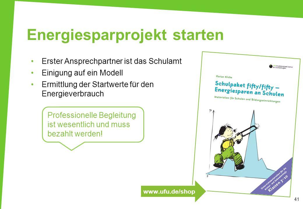 Energiesparprojekt starten Erster Ansprechpartner ist das Schulamt Einigung auf ein Modell Ermittlung der Startwerte für den Energieverbrauch 41 Profe
