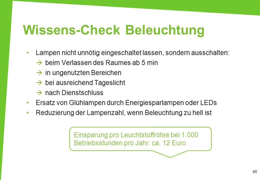 Wissens-Check Beleuchtung Lampen nicht unnötig eingeschaltet lassen, sondern ausschalten: beim Verlassen des Raumes ab 5 min in ungenutzten Bereichen