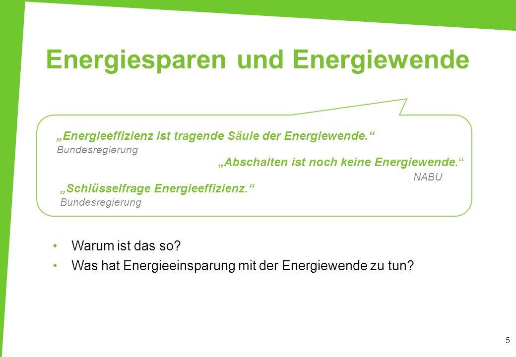 5 Energiesparen und Energiewende Energieeffizienz ist tragende Säule der Energiewende. Bundesregierung Abschalten ist noch keine Energiewende. NABU Sc