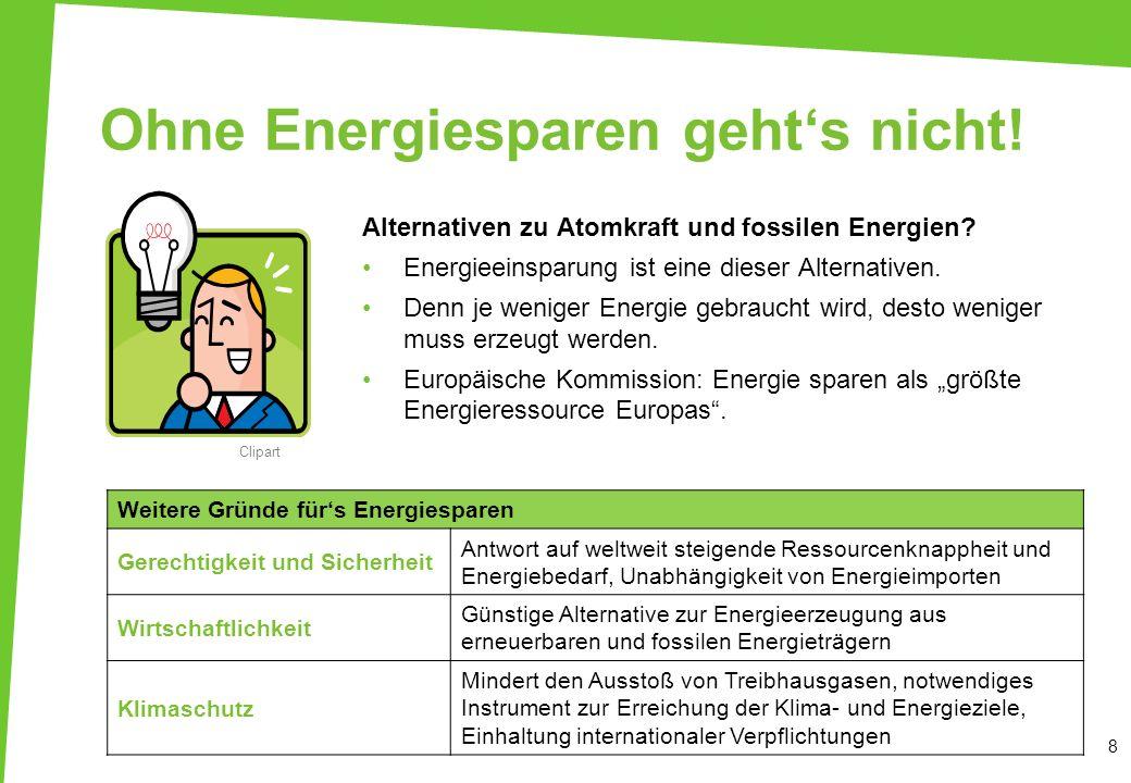 Ohne Energiesparen gehts nicht! 8 Clipart Weitere Gründe fürs Energiesparen Gerechtigkeit und Sicherheit Antwort auf weltweit steigende Ressourcenknap