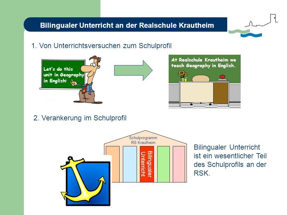 Bilingualer Unterricht an der Realschule Krautheim Bilingualer Unterricht ist ein wesentlicher Teil des Schulprofils an der RSK.