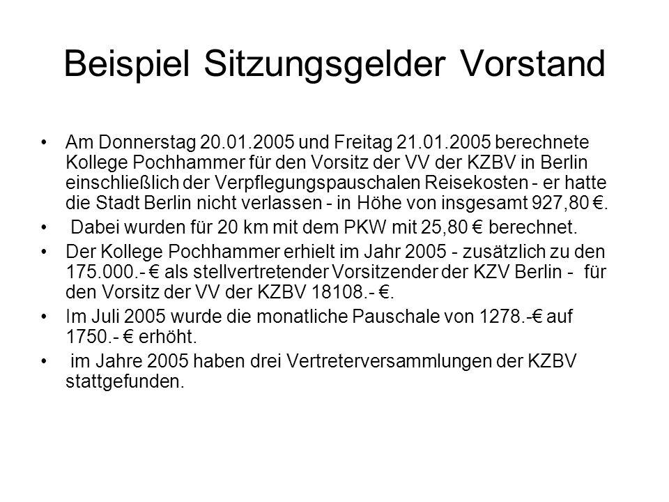 Beispiel Sitzungsgelder Vorstand Am Donnerstag 20.01.2005 und Freitag 21.01.2005 berechnete Kollege Pochhammer für den Vorsitz der VV der KZBV in Berl