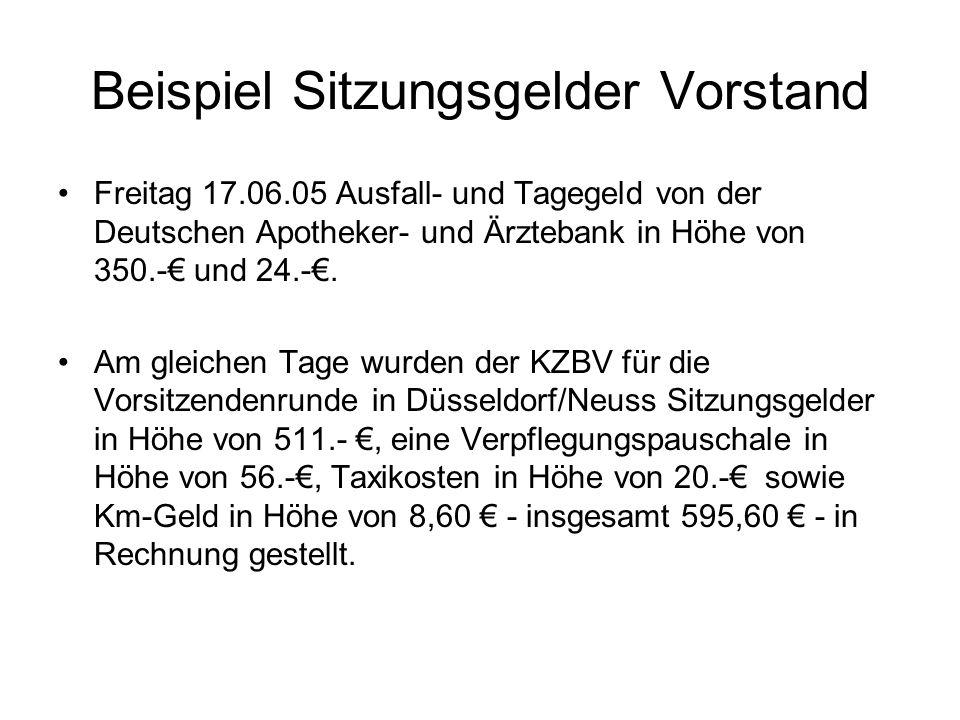 Beispiel Sitzungsgelder Vorstand Freitag 17.06.05 Ausfall- und Tagegeld von der Deutschen Apotheker- und Ärztebank in Höhe von 350.- und 24.-. Am glei