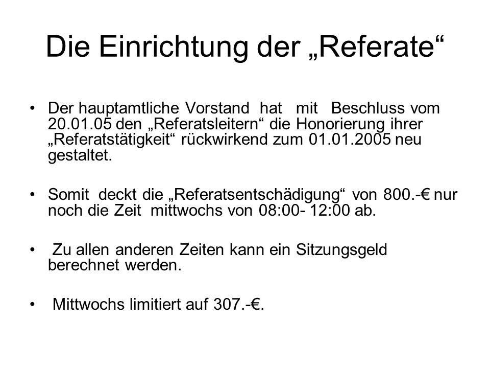 Die Einrichtung der Referate Der hauptamtliche Vorstand hat mit Beschluss vom 20.01.05 den Referatsleitern die Honorierung ihrer Referatstätigkeit rüc